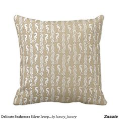 Delicate Seahorses Silver Ivory Pastel Ocean Beach Cushions