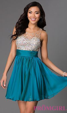 JVN by Jovani Short Jeweled Fit and Flare Dress at PromGirl.com