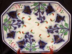 Ironstone FLOW BLUE STRAWBERRIES Octagon Platter Elsmore Forster Gaudy Welsh1850