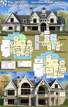 Plan 290085iy Modern Farmhouse With Dramatic Views To The Rear