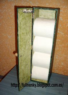 Con una madera que tenía por casa,decidí realizar un armarito para guardar el papel higiénico. Como podéis ver el la imagen he tenido a mi... Towel, Bathroom, Country, Ideas, Small Shower Room, Home, Toilet Paper Roll Holder, Ornaments, Wood