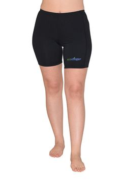 Women uv protection swim shorts above knee length chlorine resistant upf50  black 89df3dbce1