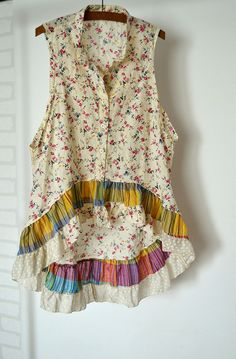 blouse cotton ruffles boho upcycled clothing by smArtville on Etsy