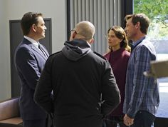 'Loose Cannons' -- Dinozzo pays Jeanne Benoit (Scottie Thompson) a visit as he chases a lead involving doctors in Sudan, on NCIS, Tuesday, Feb. 23 (8:00-9:00 PM, ET/PT), on the CBS Television Network. Pictured left to right: Michael Weatherly, Jon Cryer, Scottie Thompson and David Chisum (Photo by Sonja Flemming/CBS via Getty Images)