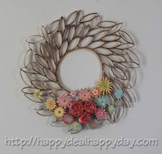 Do It Yourself: Toilet Paper Roll Wreath combined with egg carton flowers for spring wreath
