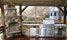 pergola and fireplace designs | Wood Pergola With Outdoor Kitchen and Brick Fireplace #348 - Lone Star