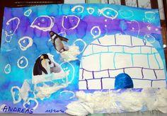 à y est , je vais commencer à vous montrer ce que nous avons fait sur le pôle Nord. Nous avons d'abord dessiner le quadrillage sur des igloos découpés ( par mes petites mains!) , séance difficile car je voulais un quadrillage en quinconce et non celui...