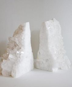 Large Natural White Crystal Quartz Bookends-- to die for!
