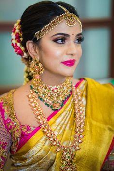 South Indian Bridal Makeup: Brides Who Totally Rocked This Look – Bridal Makeup – Bridal Eye Makeup Indian Wedding Makeup, Bridal Eye Makeup, Wedding Makeup Looks, Indian Eye Makeup, South Indian Makeup, South Indian Jewellery, Bride Makeup, Indian Bridal Sarees, Indian Bridal Fashion