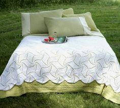 Pinwheel Crochet Bedspread Pattern | AllFreeCrochetAfghanPatterns.com