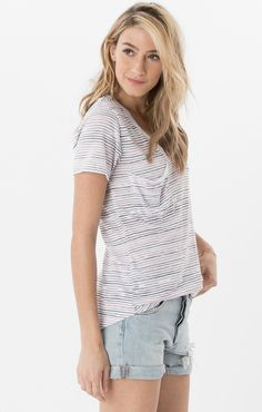 161d8176231ae Z Supply women s nautical stripe pocket tee top blossom rose zt172068  Nautical Stripes