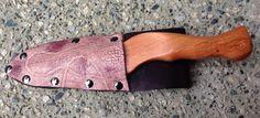 Yew wax play knife & leather sheath, with appaloosa finish & rope motif www.alexanderspaddles.com