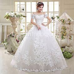 Da ballo Vestito da sposa - Classico Pizzo Lungo Drappeggiata Raso Tulle con Con applicazioni Strass Perline del 2017 a €87.29