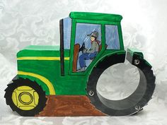Tractor Yellow and Green Hand painted wooden coin by SPIHobbies
