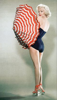 {Marilyn the pinup} by Bert Reisfeld, 1953 ♥ parasol! shoes! curves!