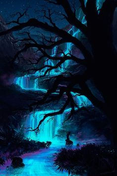 SCENIC: Ideas for the forest, but would probably be darker and maybe not blue, or at least not as bright blue. Fantasy Places, Fantasy World, Beautiful World, Beautiful Places, Les Cascades, Fantasy Kunst, Fantasy Landscape, Fantasy Trees, Fantasy Art Landscapes