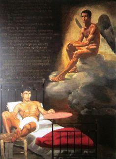 GIANNIS TSAROUXIS BIG GREEK PAINTER Male Angels, Male Fairy, Cute White Guys, Angel Man, Fantasy Art Men, Queer Art, Art Of Man, Byzantine Art, Cute Gay Couples