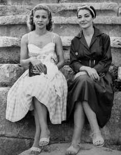 Mrs. Athina Onassis, wife of the shipping magnate, and Maria Callas - 1959.