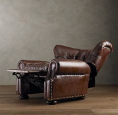 Family Room Makeover: Replaced apholstered club chairs with two leather recliner club chairs from Restoration Hardware - Churchill Recliner Home Office Furniture, Furniture Making, Leather Recliner, Leather Seats, Furniture Styles, Furniture Ideas, Victorian Furniture, Club Chairs, Great Rooms