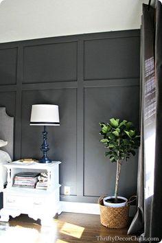 dark wall board and batten wall Dark gray accent wall Dark Accent Walls, Accent Wall Bedroom, Dark Gray Walls, Dark Gray Bedroom, Gray Bedroom Walls, Feature Wall Bedroom, Wood Bedroom Wall, Dark Grey Feature Wall, Dining Room Feature Wall