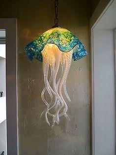 Hand Blown Glass Chandelier - Jellyfish Light - Art Glass Lighting - Chandelier