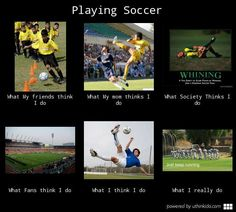 Playing soccer - What people think I do, What I really do
