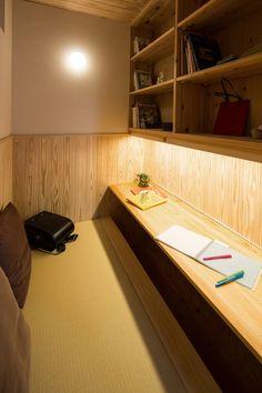 ), Window above table. Interior Exterior, Room Interior, Interior Design Living Room, Home Office Space, Home Office Design, House Design, Tatami Room, Study Room Design, Japanese Interior