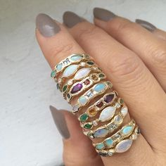 We'll take all of them please! Misa Jewelry ~ Aurora Rings stacked with Journey Treasure Rings   Opals, Emeralds, Diamonds, Sapphires, Citrines, Garnets, Amethysts, Aquamarines   #fine #jewelry #gold