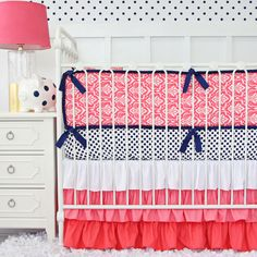 Caden Lane Baby Bedding - Preppy Coral and Navy Baby Bedding, $172.00 (http://cadenlane.com/preppy-coral-and-navy-baby-bedding/)