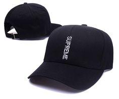 Men's / Women's Supreme 6 Panel Vertical Logo Street Fashion Adjustable Baseball Hat - Black / White