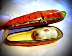 Limoges France French Carrot Bunny Rabbit Trinket Box Peint Main Signed Limoge