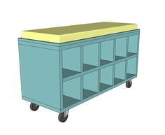 this easy to build rolling shoe cubby bench is perfect for keeping your shoes organized in a small entry or mudroom
