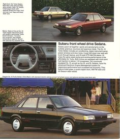 """1987 Subaru front wheel drive Sedans. """"Subaru puts it all together: sporty and aerodynamic on the outside; gracious, luxurious and spacious inside."""""""