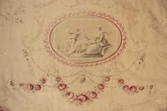 Vintage-Fabric-French-toile-c-1930s-European-classical-faded-tones-curtain
