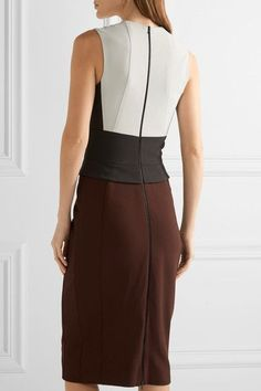 Light-gray, black and burgundy silk-blend crepe Two-way zip fastening through back 70% silk, 26% polyamide, 4% elastane Dry clean Made in Italy