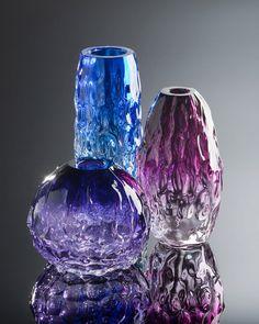 Art Sculpture Vessel / Centerpiece Blown Glass Vase / Sapphire Cobalt Blue Ombre / Minimal Home Decor / wedding gift