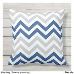 Blue Gray Chevron Outdoor Pillow Gray Chevron, Grey Pillows, Designer Throw Pillows, Outdoor Throw Pillows, Party Hats, Blue Grey, Art Pieces, Tapestry, Pattern