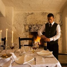 Gourmet candlelight dinner by the #fireplace #private #weekend #romantic #immacolata #weareinpuglia #masseriatorrecoccaro