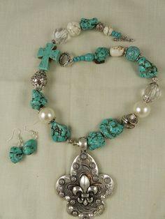 Chunky Handmade Turquoise Magnesite Cross Fleur di lis pendant necklace set