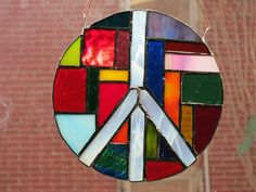 Rainbow Peace Mandala In stained glass with 22 shades of color by nutmegdesigns on Etsy Stained Glass Patterns, Color Theory, Colored Glass, Love Art, Boho Decor, Whimsical, Mosaic, Abstract Art, Mandala