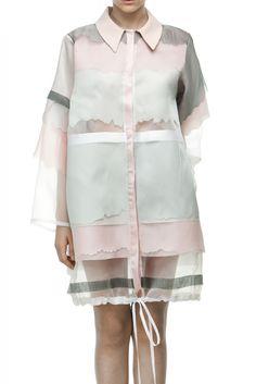 Atelier Kikala pink, gray and white semi sheer silk coat