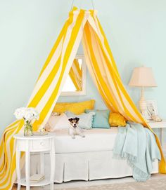 yellow blue. http://www.countryliving.com/crafts/projects/diy-canopy-bed-0709