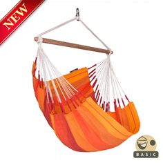 Basic hammock chair ORQUIDEA volcano – in sunny and warm shades of red and orange, is a cozy oasis of cheerfulness for your home.