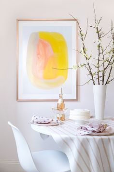 Design Ideas to Make Every Room In your House Prettier | Abstract, bright-colored wall art can liven up any space