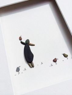 kreative kieselstein dekoration - ein kleiner mann