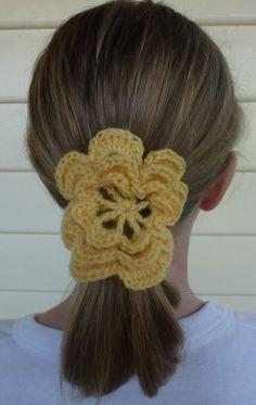 Handmade Crochet Flower Hair Ties With Elastic by TeddyandTottie, $4.00