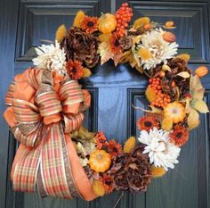 Brown Cream Orange and Yellow Fall Pumpkin Wreath with Plaid Bow Diy Fall Wreath, Autumn Wreaths, Holiday Wreaths, Wreath Ideas, Mesh Wreaths, Fall Crafts, Holiday Crafts, Holiday Decor, Holiday Fun