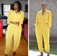 before and after of a thrift store jumpsuit with stretched elastic