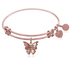 Expandable Bangle in Pink Tone Brass with Grand Daughter Symbol