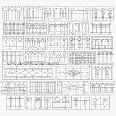 "Collection of horizontal geometric stained glass patterns. FREE ""PERSONAL USE"" DWG, SVG, EPS FILES."